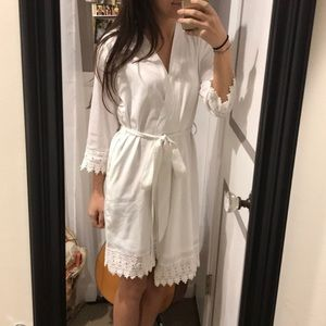 Fully lined white lace bridal robe